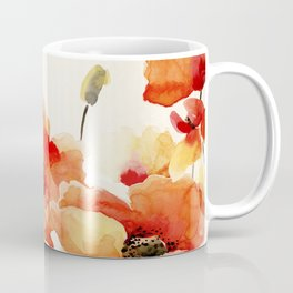Poppy Flower Meadow- Floral Summer lllustration Coffee Mug