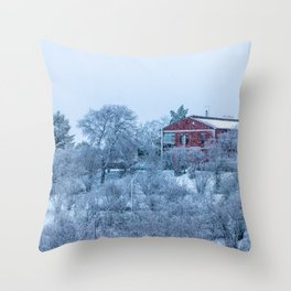 Red house lost in a snowy storm Throw Pillow