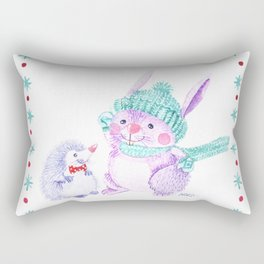 Rabbit and Hedgehog Rectangular Pillow