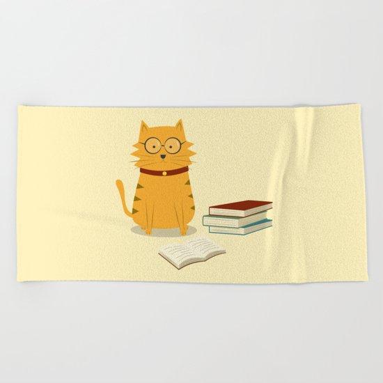 Nerdy Cat Beach Towel