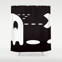 pac man Shower Curtains featuring PAC MAN by MISTER BLACKWHITE