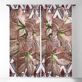 BROWN-GREY PATTERNED AMARYLLIS DRAWING ART Blackout Curtain