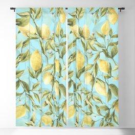 mediterranean summer lemon branches on turquoise Blackout Curtain