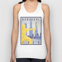 travel poster Tank Tops featuring Republic City Travel Poster by HenryConradTaylor