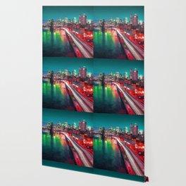 New York City Lights Red Wallpaper