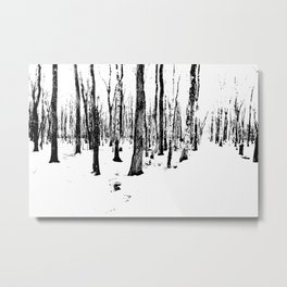 Trees in the Snow (B&W) Metal Print