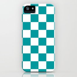 Blue, Teal: Checkered Pattern iPhone Case