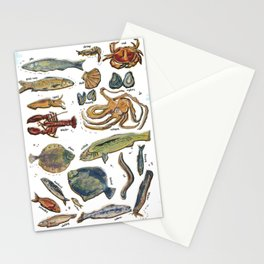 fishes and seafood Stationery Cards