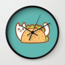 Taco Cat White Wall Clock
