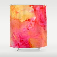 peach Shower Curtains featuring Peach flow by itsme.emi