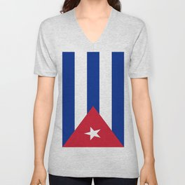 Flag of Cuba -cuban,havana, guevara,che,castro,tropical,central america,spanish,latine Unisex V-Neck