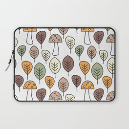 cute fall autumn colorful seamless pattern background with mushrooms and leaves Laptop Sleeve