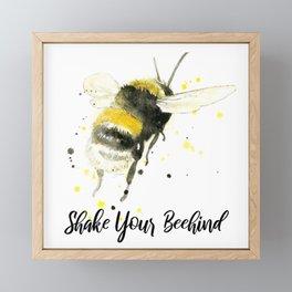 Shake Your Beehind - Punny Bee Framed Mini Art Print