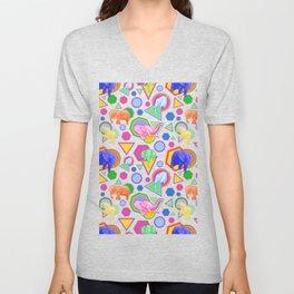 Cute Elephant Pattern - Bright Geometric Elephant Print Unisex V-Neck