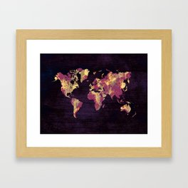 world map 86 red yellow Framed Art Print