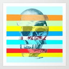 Striped Glitch Skull Art Print