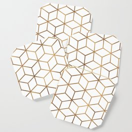 White and Gold - Geometric Cube Design Coaster
