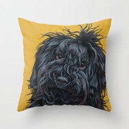 Sweet Puli Puppy Painting, Dreadlock Dog Art, Puli Dog Portrait Throw Pillow