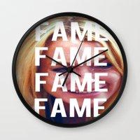 lindsay lohan Wall Clocks featuring FAME - LINDSAY LOHAN by Beauty Killer Art