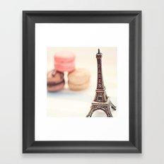 Macaron and Mini Eiffel Tower Framed Art Print