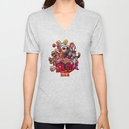 Slow Times at Sloth High Unisex V-Neck