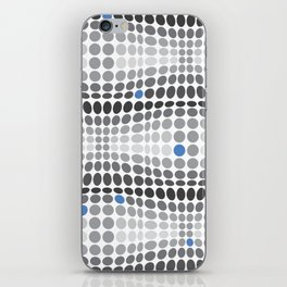 Dottywave - Grey and blue wave dots pattern iPhone Skin