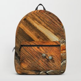 Wood Grain Pattern on Weathered Wooden Boards Backpack