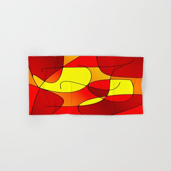 ABSTRACT CURVES #1 (Reds, Oranges & Yellows) Hand & Bath Towel