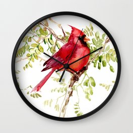 Northern Cardinal, cardinal bird lover gift Wall Clock