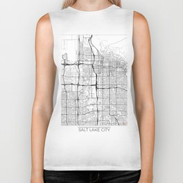 Salt Lake City Map White Biker Tank