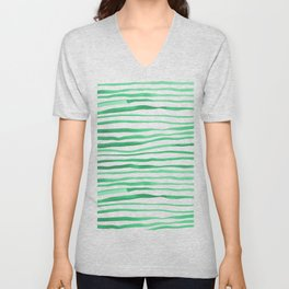 Irregular watercolor lines - green Unisex V-Neck