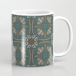Eclectic Geometric Tile Art Pattern - Dark Green Teal Pink Coffee Mug