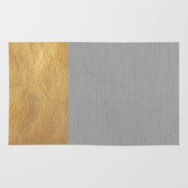 Color Blocked Gold & Grey Rug