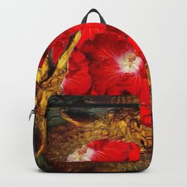 RED BLOODY HIBISCUS FLOWERS ALLIGATORS GOLD ART Backpack