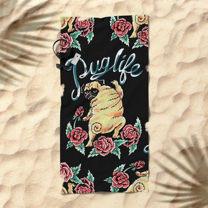Puglife Tattoo Beach Towel