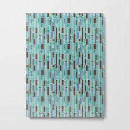 Retro Mid Century Blue Tiled Geometric Pattern Metal Print
