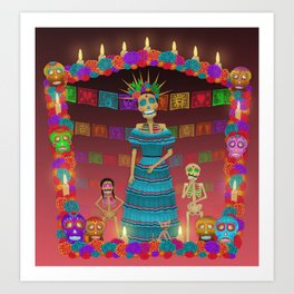 Pink Ómbre Day of the Dead Art Print