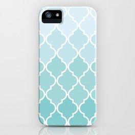 Ombre Moroccan Trellis, Latticework - Blue White iPhone Case