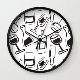 Wine Lovers Illustrated Wine Glasses and Wine Bottles Wall Clock