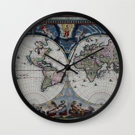 Old World Map print from 1664 Wall Clock