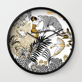Woman with a cheetah - Peggy nille Wall Clock
