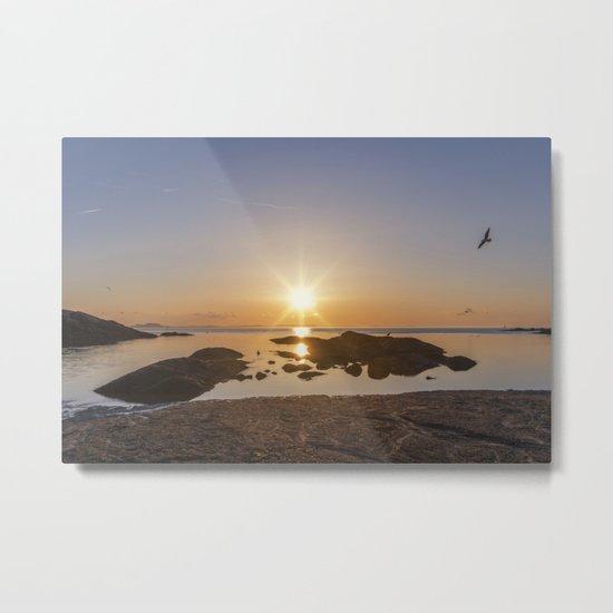Sunset at Plum Cove Beach Metal Print