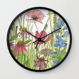 Red Poppy Wildflowers Watercolor Ink  Wall Clock
