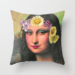 Hippie Gioconda Throw Pillow