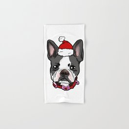 Boston Terrier Dog Christmas Hat Present Hand & Bath Towel
