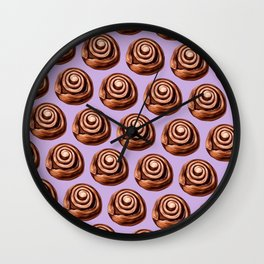 Cute Vintage Cinnamon Roll Pattern - Lilac Wall Clock