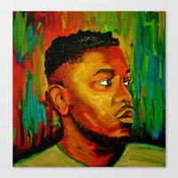 kendrick lamar Canvas Prints featuring Kendrick Lamar by Molly Forster