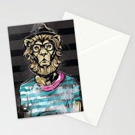 Hipster Lion on Black Stationery Cards