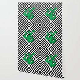 Cactus - Abstract geometric pattern - black and white. Wallpaper