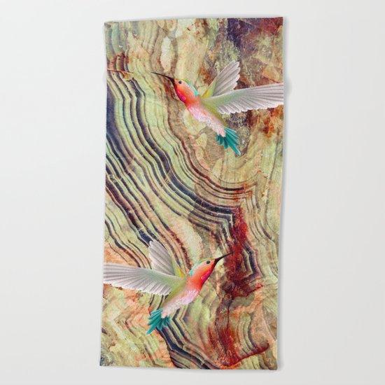 hummingbirds marble Beach Towel